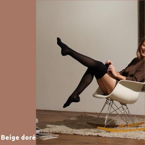 Chaussettes de contention Thuasne Venoflex Secret beiges dorées Classe 2 mollet +