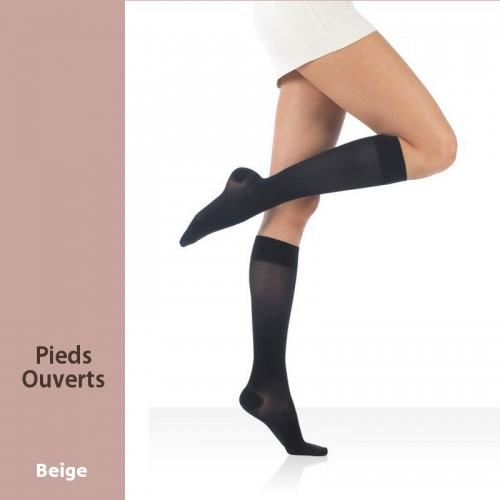 Chaussettes de contention Actys 20 Beige pieds ouverts Classe 2