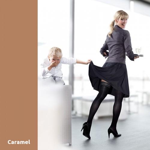 Bas de Contention Mediven Elégance Caramel Classe 3 Autofixant Platinum.