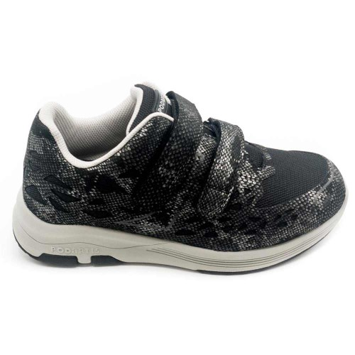PODARTIS Chaussure de Marche Confort Noire Femme Velcro